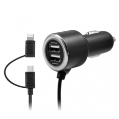 4.4A Car Charger with 2 in 1 cable